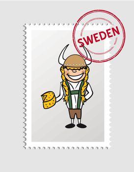 Swedish cartoon person postal stamp