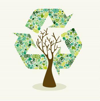 Sustainable development hand made tree