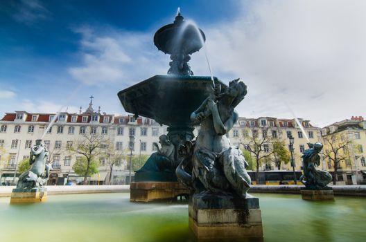 Baroque fountain on rossio square