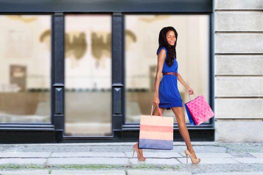 Happy fashion shopping consumer