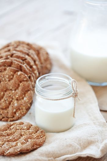 Cereal bread and milk