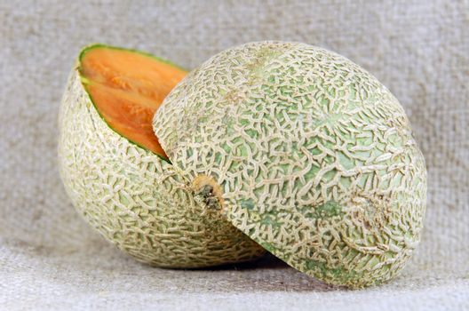 a melon cut in half