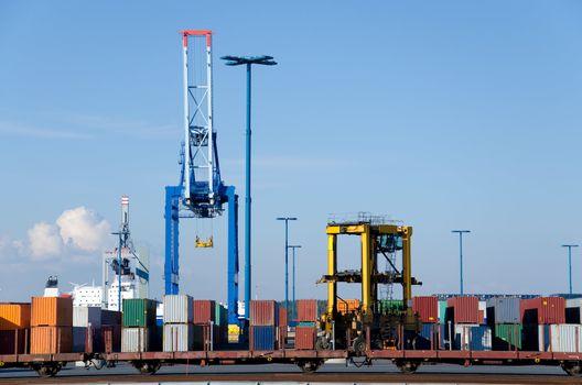 dock cranes in the port of Helsinki. Finland.