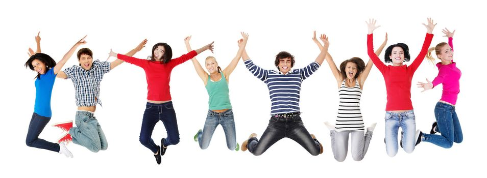 Group of happy young people jumping - isolated over a white background
