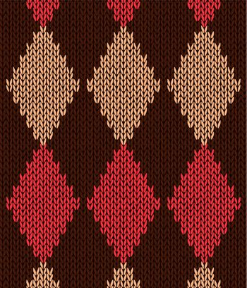 Style Seamless Red Brown Yellow Color Knitted Pattern