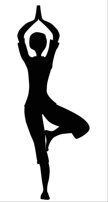 The tree asana is silhouette against a white background