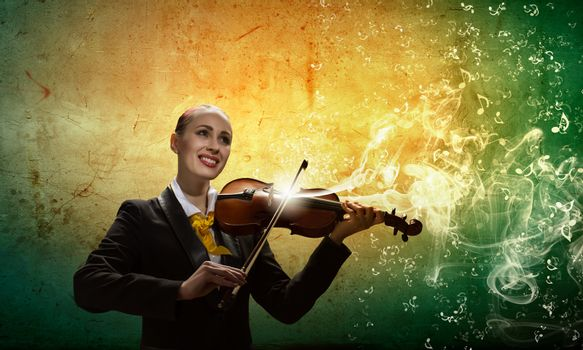 Violinist in business suit