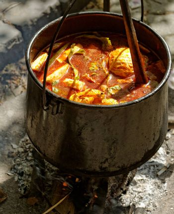 food cooking in stew pot in the nature