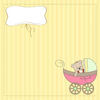 funny teddy bear in stroller