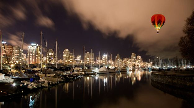 The Vancouver city harbor at night, Canada BC