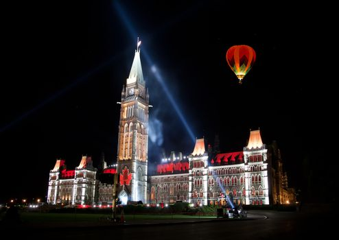 OTTAWA, CANADA ��� AUGEST 22:  The beautiful light show projected on the parliament building to celebrate the Canada���s rich history and friendly people in the summer night of August 22, 2011 in Ottawa, Canada.