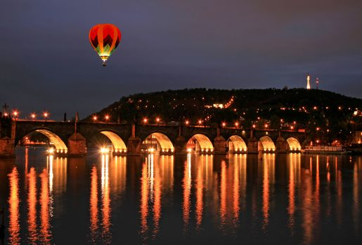 The night view of the Charles Bridge in Prague City