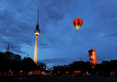 The Berlin tv tower -  fernsehturm at night