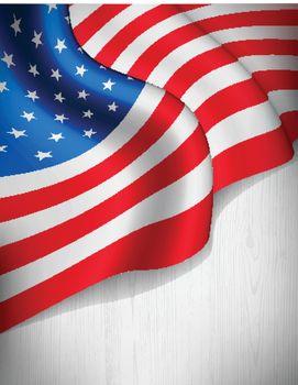 American flag on grey wood background