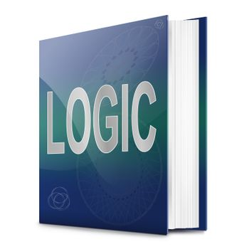 Illustration depicting a text book with a logic concept title. White background.