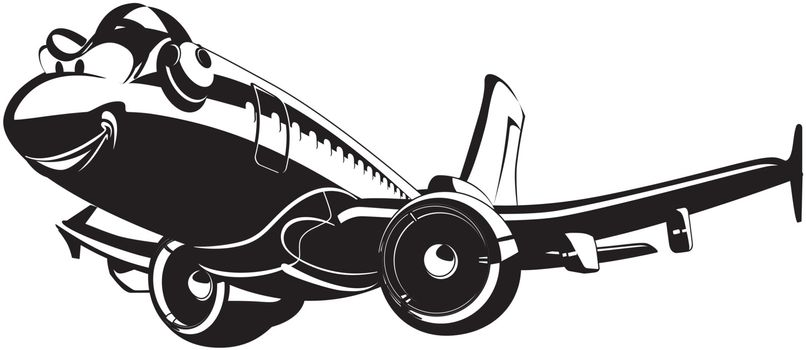 Vector Cartoon Airliner. Available EPS-8 vector format separated by groups and layers for easy edit