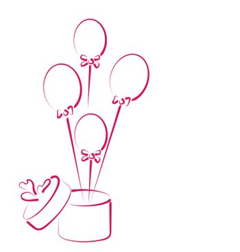 Illustration open gift box with balloons for your holiday -
