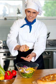 Chef preparing the salad