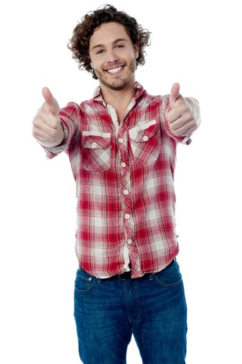 Guy showing double thumbs up