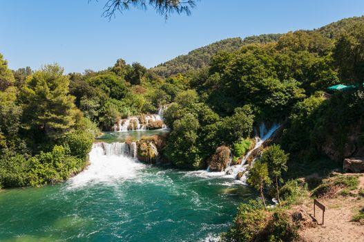 Waterfall in Krka National Park, Croatia.