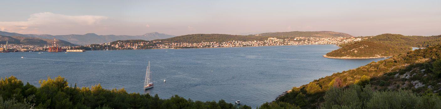 Panorama of Trogir and Ciovo Island, Croatia