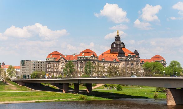 Carolabrucke over Elbe river in Dresden, Germany