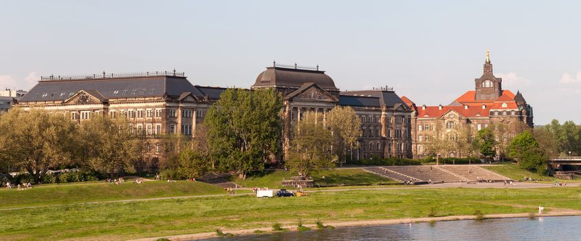 Right-bank panorama of Dresden. View on Ministry of Finance building.