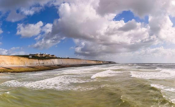 Roedean School, southern coast of Great Britain, view from Brighton Marina Village