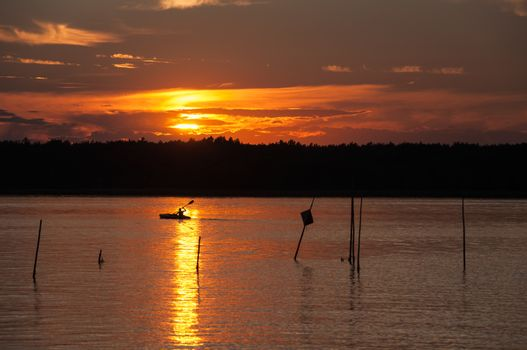 Sunset on Kisajno Lake, Masurian Lake District in Poland.
