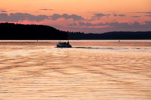 Motorboat on the lake, Masurian Lake District