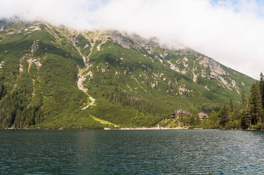 Mountain chalet by the Morskie Oko lake.