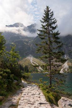 Mountain route around Morskie Oko lake, Tatra Mountains, Poland.