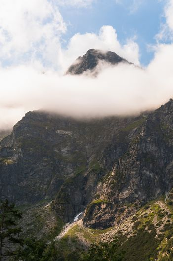 Tatra mountains, peak in the clouds in Poland.