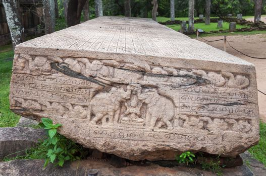 Stone Book Gal Pota in ancient city of Polonnaruwa, Sri Lanka.