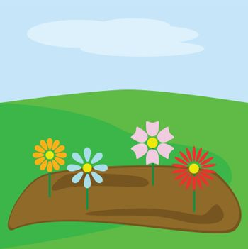 Cartoon illustration of a spring garden with different flowers