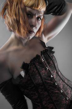 Seductive, sensual blonde woman in provocative dress