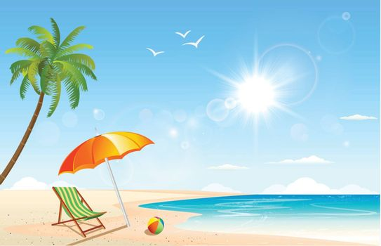This image is a vector file representing a summer inspired scene.