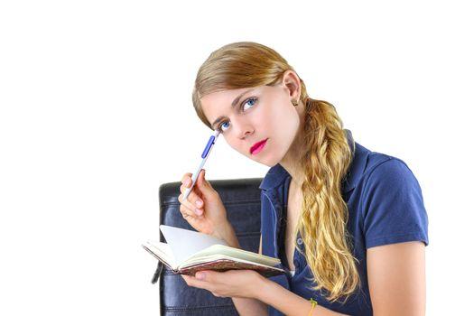 Woman preparing a list