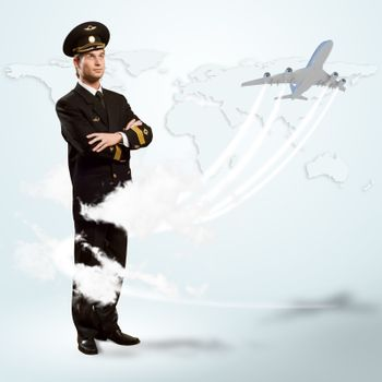 pilot is in the form of arms crossed, against a background map of the world and the aircraft