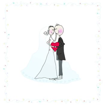 Vector illustration. Cute wedding couple holding red heart