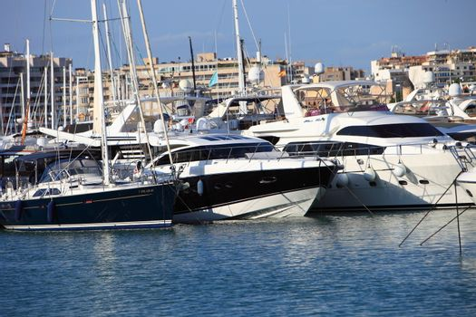 Luxury yachts in harbour