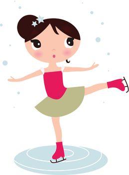 Cute winter Ice skating girl. Vector Illustration