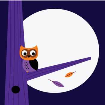 Halloween background with Owl. Vector cartoon Illustration