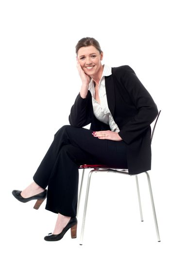 Relaxed smiling corporate lady