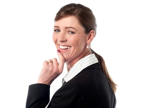 Businesswoman turns back and looks over