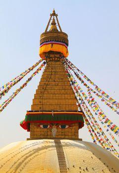 Stupa of the swayambhunath temple in kathmandu, Nepal