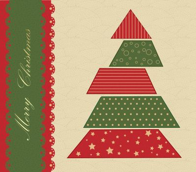 Christmas tree green and red vintage texture