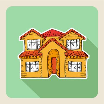 Sketch style, real estate family house flat icon. Vector file layered for easy editing.