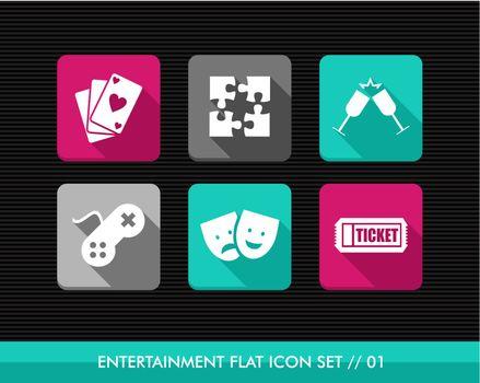 Entertainment flat icons set.