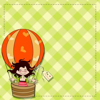 happy girl flying with a balloon flying